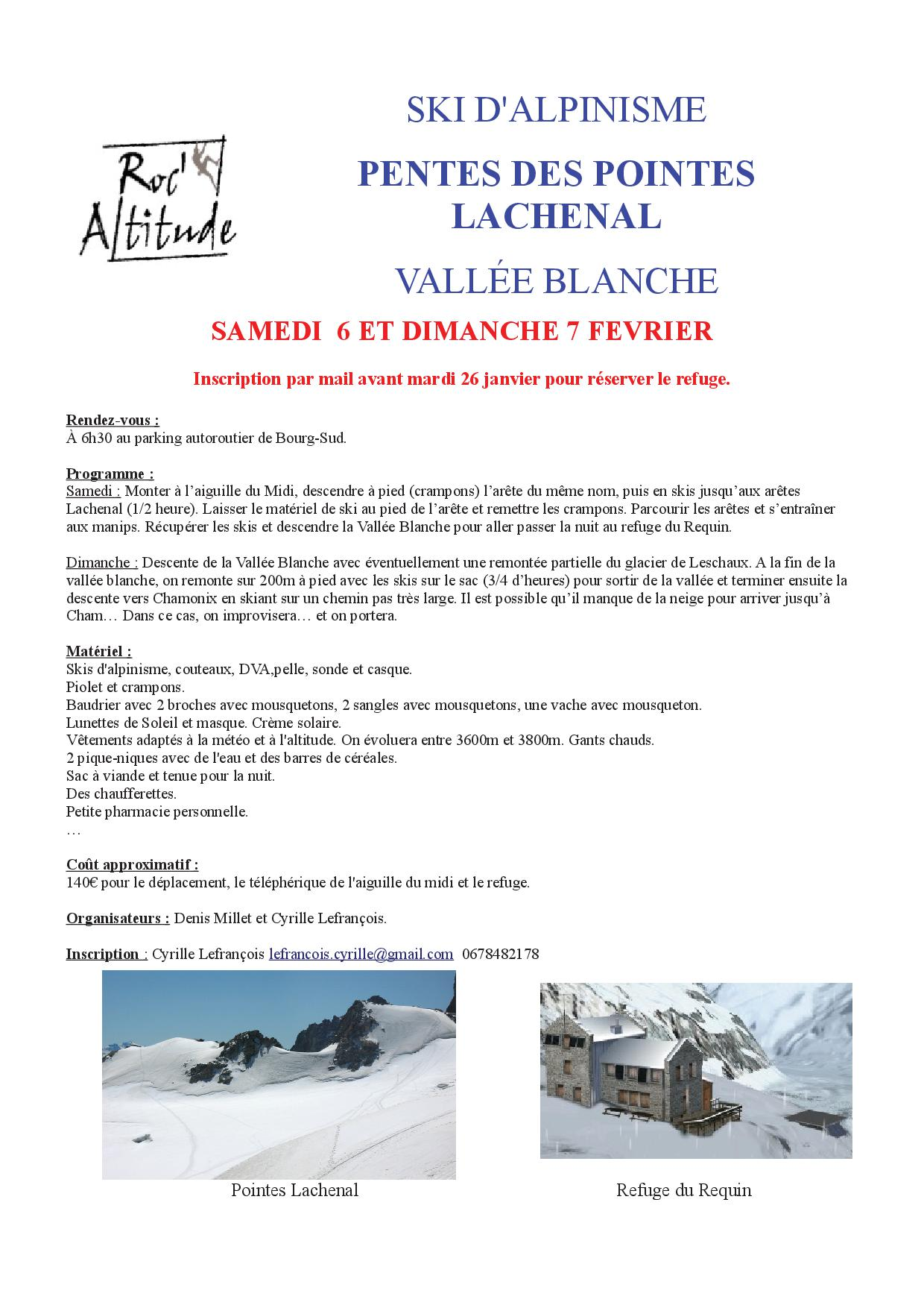Ski Alpinisme Pointes Lachenal et Vallée Blanche